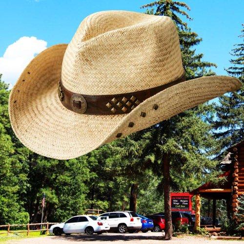 画像クリックで大きく確認できます Click↓1: ウェスタン ストローハット スタッズ(ナチュラル)/Western Straw Hat(Natural)