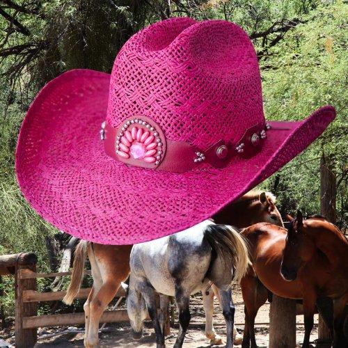 画像クリックで大きく確認できます Click↓1: ブルハイド ウエスタン ストローハット イッチィグーニー(フクシャピンク)/Bullhide Western Straw Hat Itchygoonie(Fuchsia)