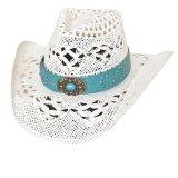 ブルハイド ウエスタン ストローハット キーピンイットリアル(ホワイト・ターコイズ)/Bullhide Western Straw Hat Keepin' It Real(White/Turquoise)