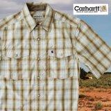 カーハート 半袖 スナップフロント シャツ(ライトブラウン)S/Carhartt Short Sleeve Shirt