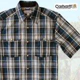 カーハート 半袖 スナップフロント シャツ(ブルー)S/Carhartt Short Sleeve Shirt