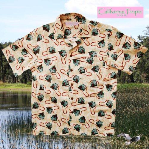 画像クリックで大きく確認できます Click↓1: カリフォルニア トロピック USA キャンプシャツ(カメラファン)/California Tropic Camp Shirt