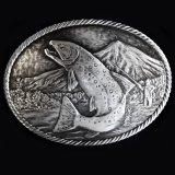 モンタナシルバースミス アウトドア ベルト バックル ワイルド トラウト/Montana Silversmiths Wild Trout Carved Belt Buckle