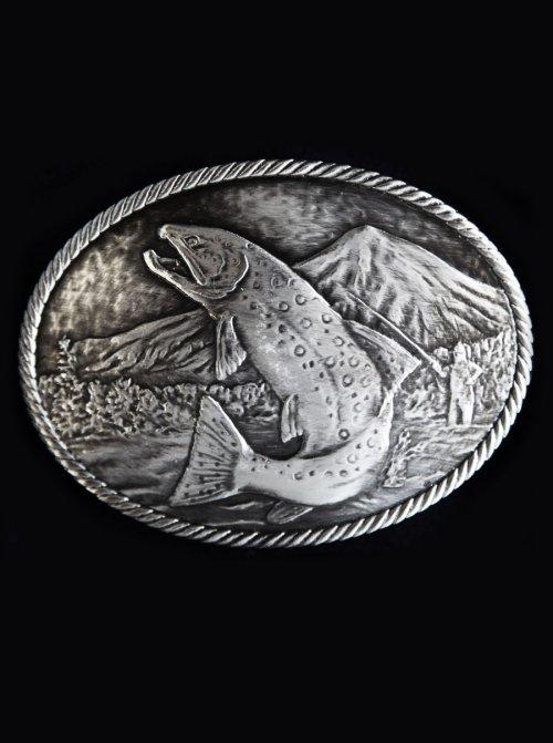 画像クリックで大きく確認できます Click↓2: モンタナシルバースミス アウトドア ベルト バックル ワイルド トラウト/Montana Silversmiths Wild Trout Carved Belt Buckle