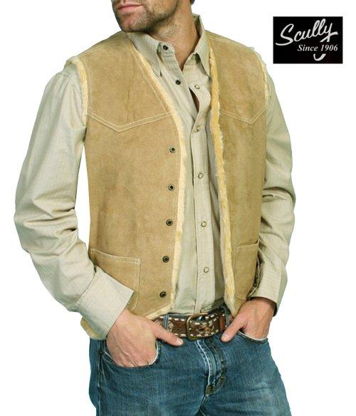 画像クリックで大きく確認できます Click↓1: スカリー スナップフロント ボアスエード ベスト(タバコ)S/Scully Boar Suede Leather Vest(Tobacco)