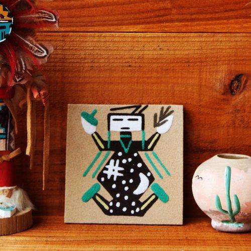 画像クリックで大きく確認できます Click↓1: サンドペイント 砂絵 ナバホ インディアン ハンドメイド/Americn Indian Navajo Sandpainting