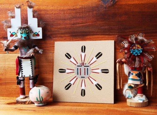 画像クリックで大きく確認できます Click↓2: アメリカインディアン ナバホ族 サンドペイント 砂絵/Navajo Sandpainting
