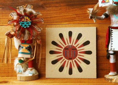 画像クリックで大きく確認できます Click↓2: ナバホ インディアン ハンドメイド サンドペイント 砂絵/Americn Indian Navajo Sandpainting