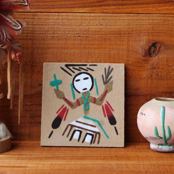 画像1: ナバホ インディアン ハンドメイド サンドペイント 砂絵/Americn Indian Navajo Sandpainting