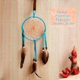 アメリカインディアン ナバホ族 鹿革製 ハンドメイド ドリームキャッチャー 13cm(ターコイズ/ブラック・ブラウン・ホワイト)/Navajo Hand Made Dream Catcher