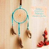 アメリカインディアン ナバホ族 鹿革製 ハンドメイド ドリームキャッチャー 13cm(ターコイズ/ホワイト・ターコイズ・ライトグレー)/Navajo Hand Made Dream Catcher