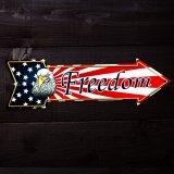 アメリカンイーグル&星条旗 フリーダム アロー メタルサイン/Metal Sign Freedom