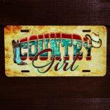 カントリー ガール ウエスタンブーツ&カウガールハット ライセンスプレート/License Plate Cowntry Girl Western Boot&Cowgirl Hat