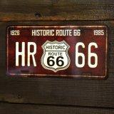 ヒストリックルート66 ライセンスプレート(ブラウン)/License Plate Historic Route 66(Brown)