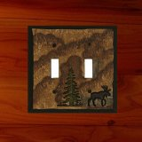 スイッチプレート ツリー&ムース アメリカ 仕様品 2口/Electrical Cover(Double)Moose