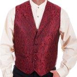 スカリー オールドウエスト ベスト(レッド・ブラック)L/Scully Old West Vest (Red/Black)