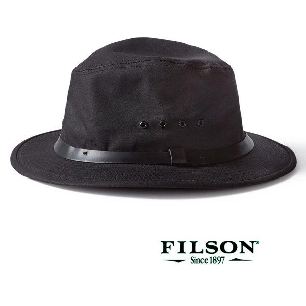 画像1: フィルソン オイルフィニッシュ ティンクロス パッカー ハット(ブラック)/Filson Tin Packer Hat(Black)