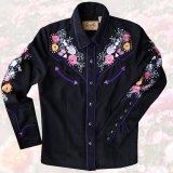 スカリー ローズ 刺繍 ラインストーン ウエスタン シャツ(長袖/ブラック)/Scully Long Sleeve Western Shirt(Women's)