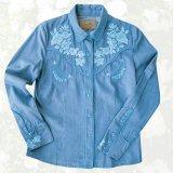 スカリー ローズ刺繍 ウエスタン シャツ(長袖/デニム・ライトブルーローズ)S/Scully Long Sleeve Western Shirt(Women's)