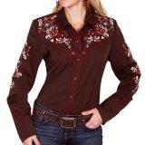 スカリー フローラル刺繍 ウエスタン シャツ(長袖/チョコレート)M/Scully Long Sleeve Western Shirt(Women's)
