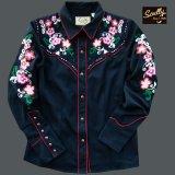 スカリー 刺繍 フローラル カウガールシャツ(長袖/ブラック)/Scully Long Sleeve Western Shirt(Women's)