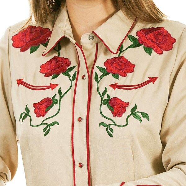 画像2: スカリー ローズ刺繍 ウエスタン シャツ(長袖/タン)/Scully Long Sleeve Western Shirt(Women's)