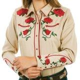 スカリー ローズ刺繍 ウエスタン シャツ(長袖/タン)/Scully Long Sleeve Western Shirt(Women's)