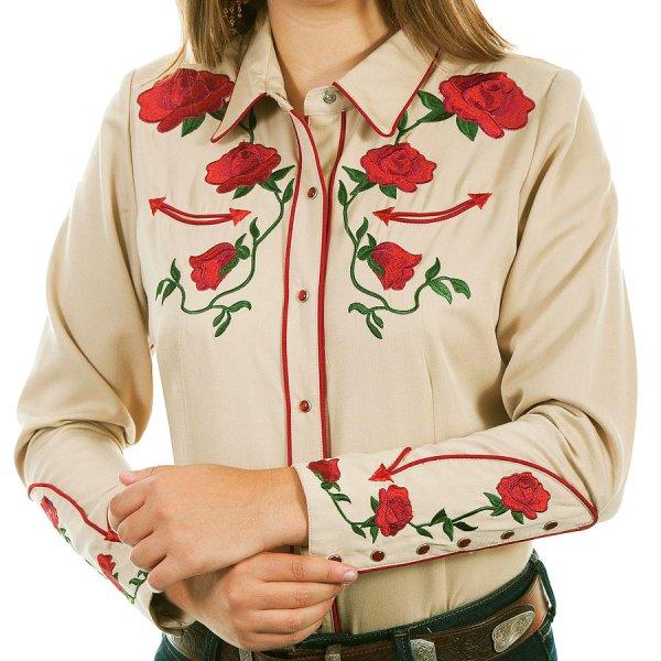 画像1: スカリー ローズ刺繍 ウエスタン シャツ(長袖/タン)/Scully Long Sleeve Western Shirt(Women's)