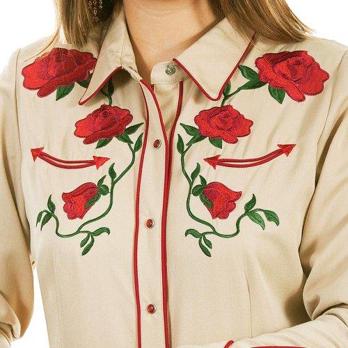 画像クリックで大きく確認できます Click↓2: スカリー ローズ刺繍 ウエスタン シャツ(長袖/タン)/Scully Long Sleeve Western Shirt(Women's)