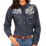 スカリー ホワイト刺繍 ウエスタン シャツ(長袖/デニム)S/Scully Long Sleeve Western Shirt(Women's)