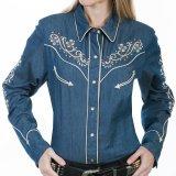 スカリー フローラル刺繍 ラインストーン ウエスタン シャツ(長袖/デニム)/Scully Long Sleeve Western Shirt(Women's)