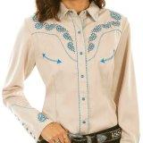スカリー ブルースクロール刺繍 ラインストーン ウエスタン シャツ(長袖/タン)M/Scully Long Sleeve Western Shirt(Women's)