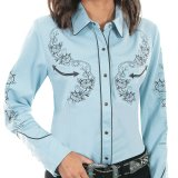 スカリー ロープ&ローズ 刺繍 ウエスタン シャツ(長袖/ライトブルー)M/Scully Long Sleeve Western Shirt(Women's)