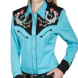スカリー 薔薇と蹄鉄刺繍 ウエスタン シャツ(長袖/ターコイズ)/Scully Long Sleeve Western Shirt(Women's)