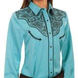 スカリー フローラル 刺繍 ウエスタン シャツ(長袖/ターコイズ・ブラック)M/Scully Long Sleeve Western Shirt(Women's)