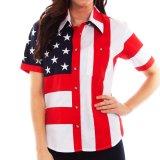 スカリー 刺繍スター☆ USA アメリカ国旗 シャツ(半袖/アメリカンフラッグ)/Scully Western Shirt(Women's)