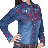 スカリー 刺繍 ウエスタン シャツ(長袖/デニム・フローラルマルチカラー)/Scully Long Sleeve Western Shirt(Women's)