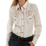 スカリー ローズ&ホースシュー刺繍 ラインストーン ウエスタン シャツ(長袖/クリーム)/Scully Long Sleeve Western Shirt(Women's)
