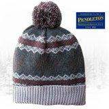 ペンドルトン ニット帽 ニットキャップ(スノー・チャコール)/Pendleton Cap With Pom Pom(Charcoal Fair Isle)