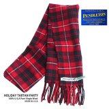 ペンドルトン ピュアバージンウール マフラー(レッド・ブラック・ホワイト)/Pendleton Pure Virgin Wool Muffler(HOLIDAY TARTAN PARTY)