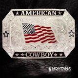 モンタナシルバースミス アメリカン カウボーイ フラッグ ベルト バックル/Montana Silversmiths American Cowboy Flag Belt Buckle