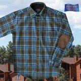 ペンドルトン ピュアー ヴァ-ジン ウール シャツ・エルボーパッチ トレイルシャツ ブルー・ブラウン・グリーンプラッドS/Pendleton Trail Shirt (Blue Brown Green Plaid)