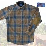 ペンドルトン ウール シャツ・エルボーパッチ トレイルシャツ ブロンズ・ブループラッドS/Pendleton Trail Shirt (Bronze Blue Plaid)