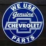 ゼネラルモーターズ シボレー メタルサイン(ブルー)/GM General Motors Company Chevrolet Metal Sign WE USE Genuine CHEVROLET PARTS