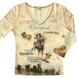カウガール ラインストーン ウエスタン Tシャツ(レディース)S/Women's Western T-shirt(Yellow)