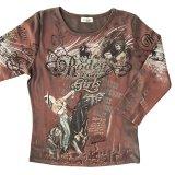 カウガール ラインストーン ウエスタン Tシャツ(レディース)M/Women's Western T-shirt(Brown)