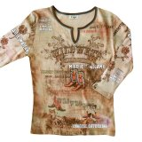 ワイルド ウエスト カウボーイブーツ ラインストーン ウエスタン Tシャツ(レディース)/Women's Western T-shirt(Khaki)