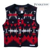ペンドルトン レディース ウール ベスト(ブラック・レッド)XS/Pendleton Wool Vest(Women's)
