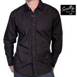 スカリー スナップフロント 刺繍 シャツ(長袖/ブラック・フロント刺繍)/Scully Long Sleeve Embroidered Snap Front Shirt(Men's)