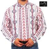 スカリー スナップフロント サウスウエスト ウエスタンシャツ(長袖/レッド・ホワイト・ブルー)/Scully Long Sleeve Snap Front Shirt(Men's)